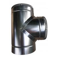 Тройник 87 ф140/ф200 мм, нерж/оцинк, 1,0 мм.