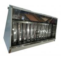 Зонт 1500х700/h400 мм вытяжной с жироулавителем пристенный