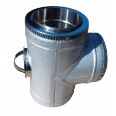 Тройник 87° с ревизией двустенный ф200/ф260 мм нерж/оцинк, 0,6 мм