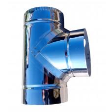 Тройник 87° ф130 мм, нерж, 0,6 мм (одностенный)
