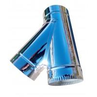 Тройник 45° ф120 мм, нерж, 0,6 мм (одностенный)