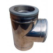 Тройник 87 ф150/ф220 мм, нерж/нерж, 0,6 мм.